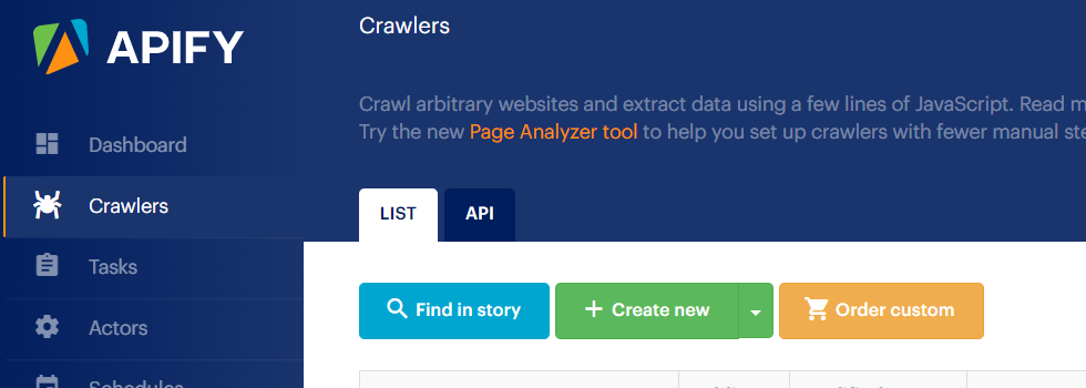 Create new Apify crawler