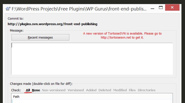 Windows TortoiseSVN commit screen
